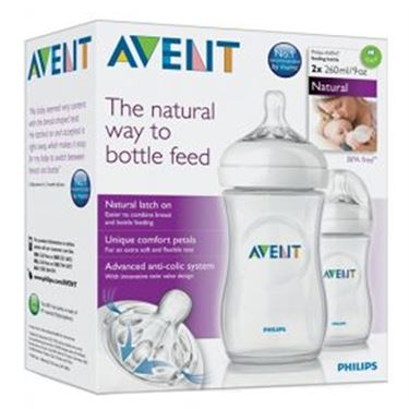 Bilde av Philips Avent Tåteflaske 260ml, Natural 2pk