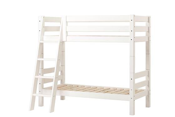 Hoppekids Etasjeseng 70x160cm, Premium Hvit, Skrå stige