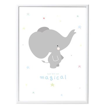 Bilde av A Little Lovely Company Poster: Grey Elephant