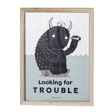 Bilde av Bloomingville Ramme med Poster: Looking for Trouble