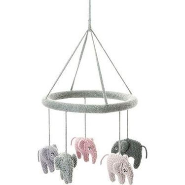 Bilde av Smallstuff Uro, Heklet Elefant, Blue Rose / Pudder