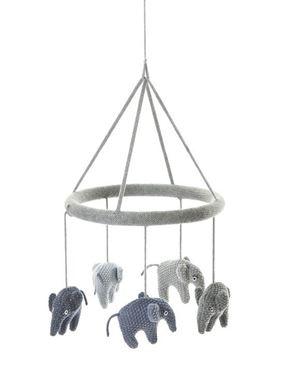 Bilde av Smallstuff Uro, Heklet Elefant, Grå / Blå