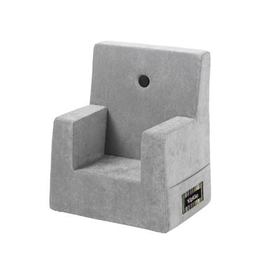 Bilde av By KlipKlap Kids Chair - Velvet argent grey with dark grey buttons