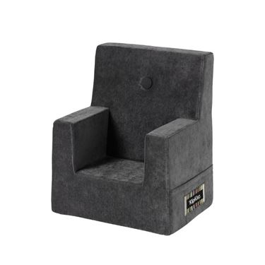 Bilde av By KlipKlap Kids Chair - Velvet anthracite grey with dark grey buttons