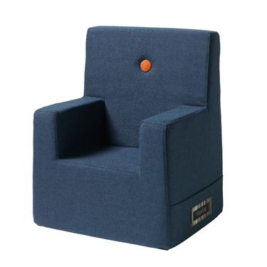 Bilde av By KlipKlap Kids Chair XL - Dark blue with orange buttons