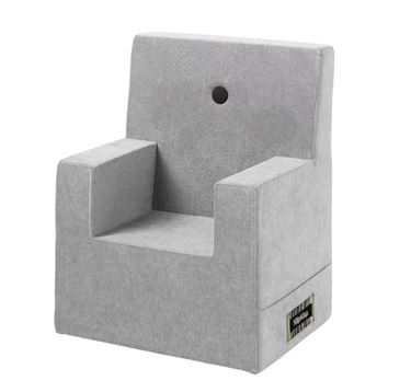 Bilde av By KlipKlap Kids Chair XL - Velvet argent grey with dark grey buttons