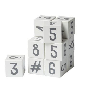Bilde av Sebra Tallklosser i tre, 12 stk., hvit/grå