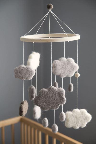 Bilde av Sebra Uro i filt, skyer, warm grey