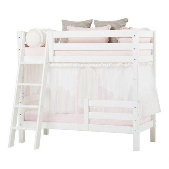 Hoppekids Etasjeseng 70x160cm, Premium Hvit, Skrå stige og To sengehes