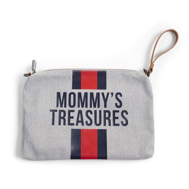 Bilde av Childhome Mommy Bag Clutch, Grå + Rød/Blå