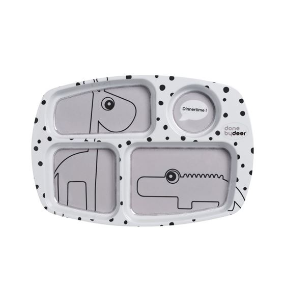 Bilde av Done by Deer Compartment plate, Happy dots, grey