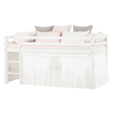 Bilde av Hoppekids BASIC halvhøy seng 90x200cm med forheng med tyl og madrass, Winter wonderland