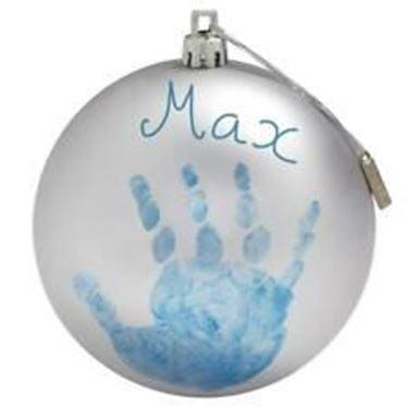 Bilde av Baby Art Julekule med håndavtrykk, Sølv