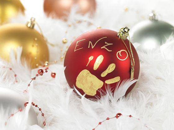 Bilde av Baby Art Julekule med håndavtrykk, Rød