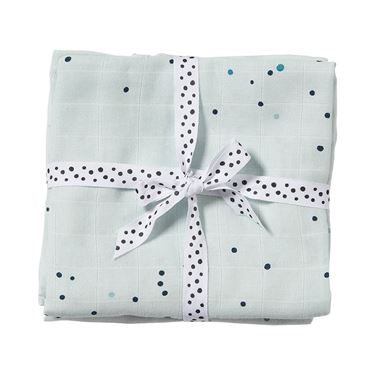 Bilde av Done by Deer Gulpeklut/Musselinteppe, 2-pack, Dreamy dots, blue