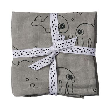 Bilde av Done by Deer Svøpeteppe Musselin, 2-pack, Sea Friends, grey