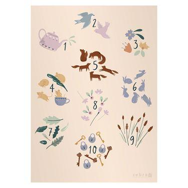 Bilde av Sebra Poster til Barnerommet, Tall, Daydream