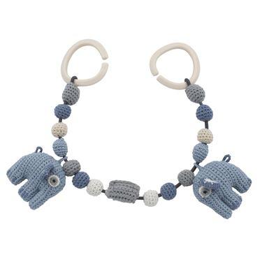 Bilde av Sebra Heklet Barnevognskjede, Elefanten Fanto, powder blue