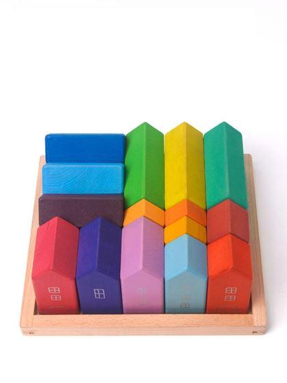 Bilde av Sagababy Treleke, Bygg din egen by (Regnbuefarger)