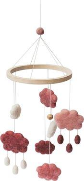 Bilde av Sebra Uro i filt, skyer, cotton candy pink