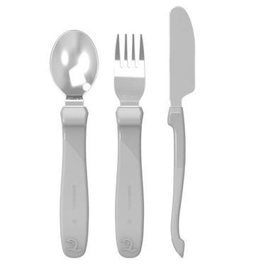 Bilde av Twistshake Learn Cutlery Stainless Steel 12+m Pastel Grey
