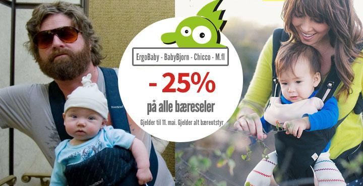 25% ekstra rabatt på alt bæreutstyr, kun frem til 11.05